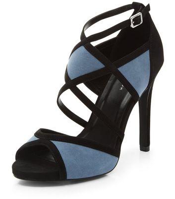 Sandalo  donna Black Colour Block Suedette Strappy Heels