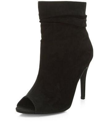 Black Suedette Peep Top Heeled Boots