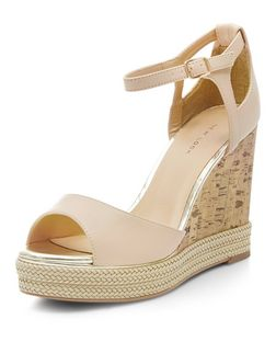 Pink Metal Trim Espadrille Wedge Sandals  | New Look