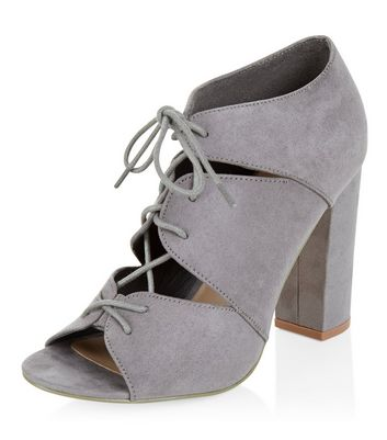 Sandalo  donna Grey Suedette Cut Out Ghillie Heels