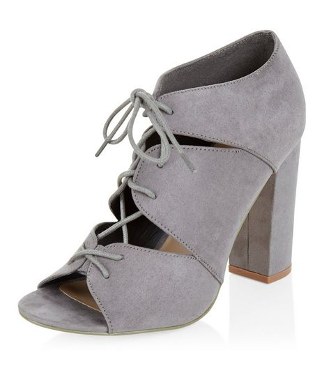 Grey Suedette Cut Out Ghillie Heels  | New Look