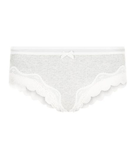 Grey Marl Lace Trim Brazilian Briefs | New Look