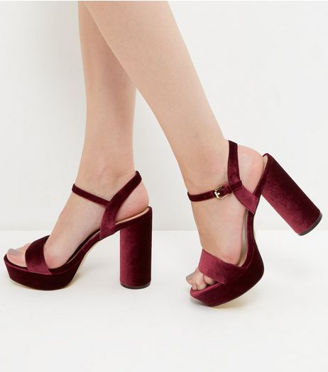 Dark Red Velvet Platform Cylindrical Heels | New Look