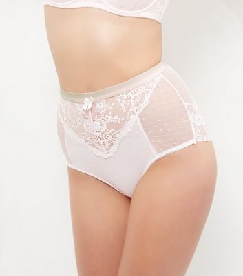 Mid Pink Lace High Waist Briefs