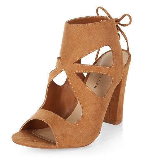 Tan Suedette Cut Out Tie Back Heeled Sandals  | New Look