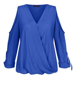 Blue Wrap Front Cold Shoulder Roll Sleeve Top  | New Look