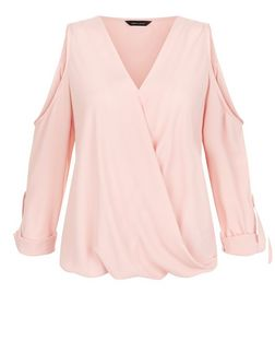 Pink Wrap Front Cold Shoulder Roll Sleeve Top  | New Look