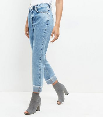 Pale Blue Turn Up Straight Leg Jeans