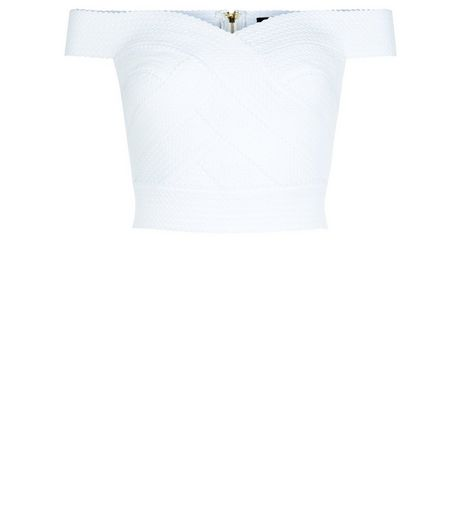 White Bandage Bardot Neck Crop Top  | New Look