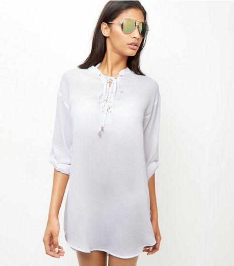 White Lace Up Roll Sleeve Shirt | New Look