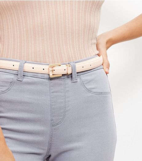 Cream Textured Belt  | New Look