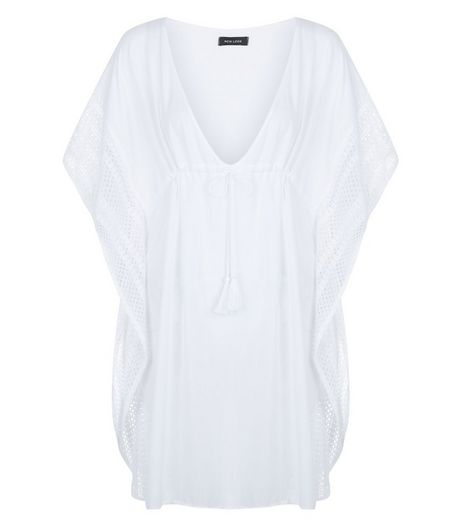 White Lace Panel Kaftan | New Look