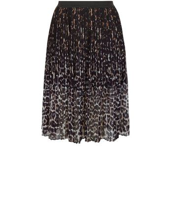 Curves Black Animal Print Pleated Midi Skirt