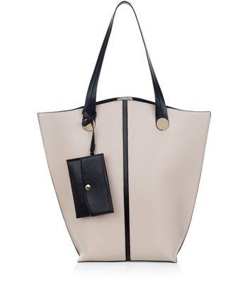 Cream Contrast Trim Tote Bag