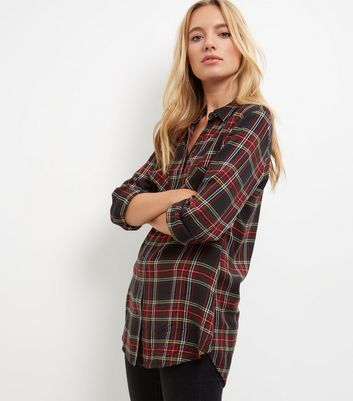 Black Tartan Check Double Pocket Long Sleeve Shirt