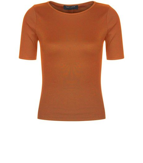 Petite Tan Ribbed T-Shirt  | New Look