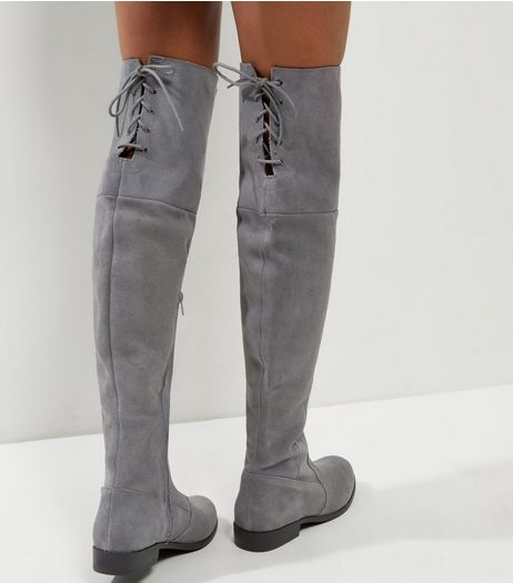 Grey Suede Over Thee Knee Boots  | New Look