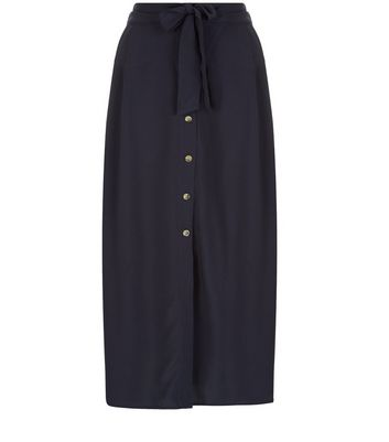 Gonna  donna Tall Navy Button Front Midi Skirt