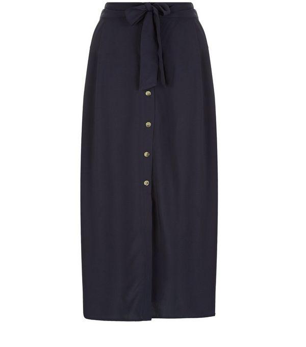 Tall Navy Button Front Midi Skirt