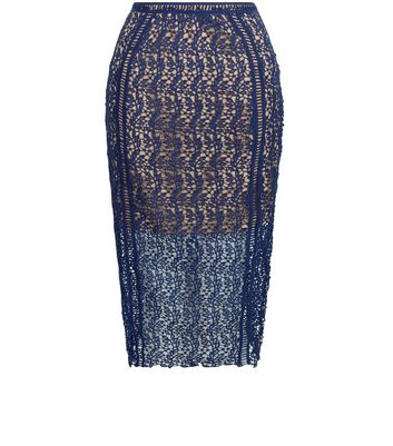 Product photo of Petite navy lace pencil skirt