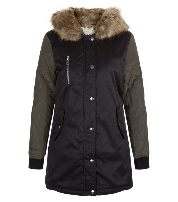 Teens Black Faux Fur Trim Hooded Parka