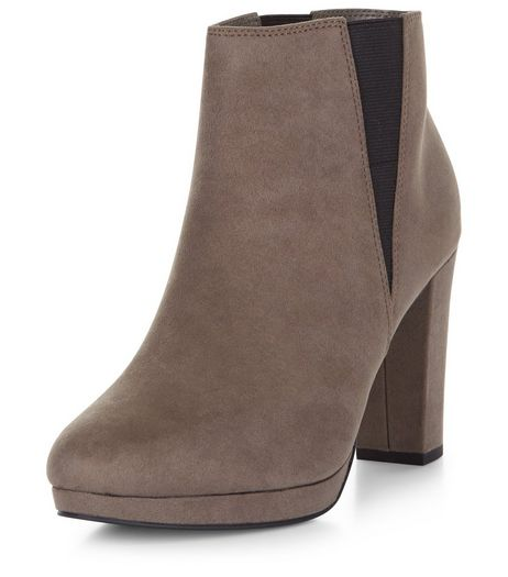 Grey Suedette Platform Cheslea Boots | New Look