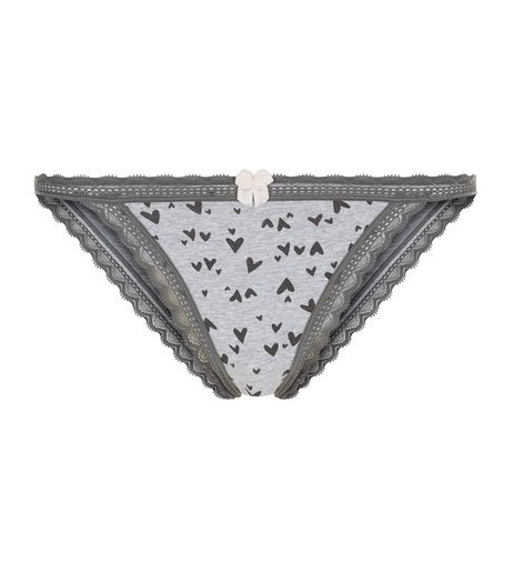 Grey Cotton Mix Heart Print Briefs  | New Look