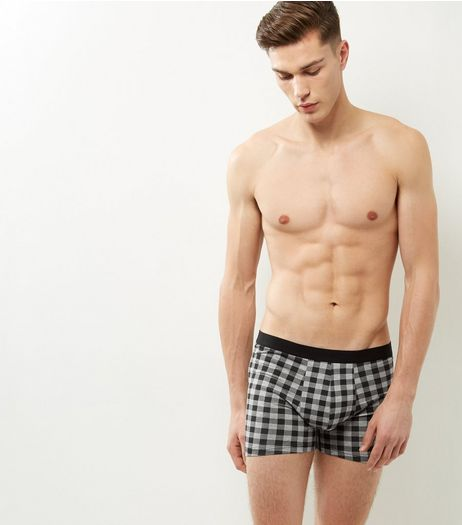 3 Pack Grey Check Boxer Briefs | New Look