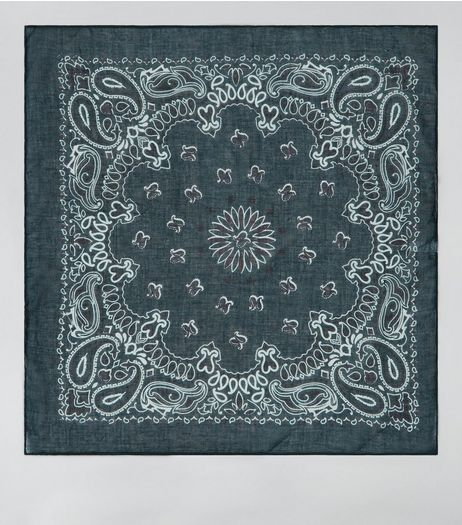 Dark Green Paisley Print Bandana | New Look