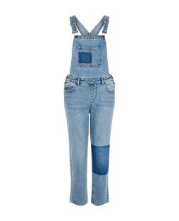 Blue Patchwork Denim Dunagrees  | New Look