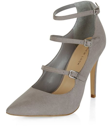 Grey Suedette Triple Strap Pointed Heels | New Look