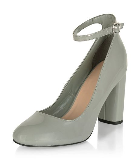 Grey Leather-Look Block Ankle Strap Heels | New Look