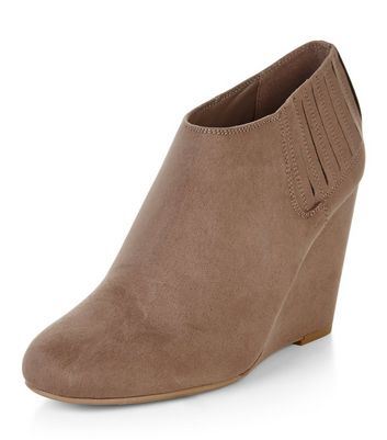 Light Brown Suedette Wedge Shoeboots