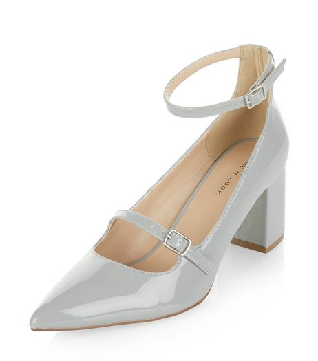Grey Patent Pointed Ankle Strap Heels | New Look
