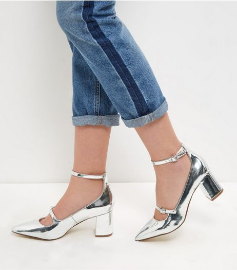 Silver Patent Pointed Ankle Strap Heels | New Look