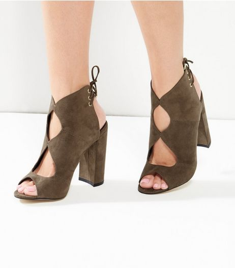 Khaki Suedette Cut Out Tie Back Block Heels  | New Look