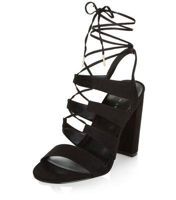 Sandalo  donna Black Suedette Ghillie Block Heels