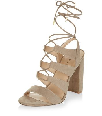 Sandalo  donna Light Brown Suedette Ghillie Block Heels