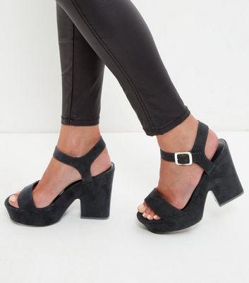 Sandalo  donna Black Suedette Block Heel Sandals