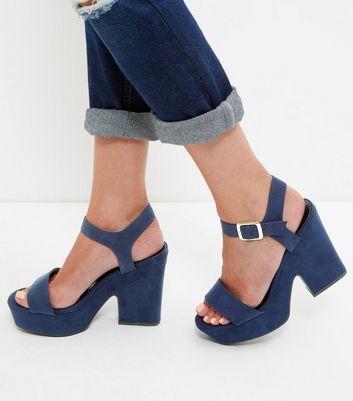 Sandalo  donna Navy Suedette Block Heel Sandals