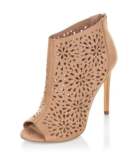 Pink Suedette Laser Cut Out High Heels  | New Look