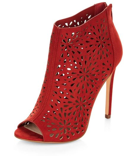 Red Suedette Laser Cut Out High Heels  | New Look