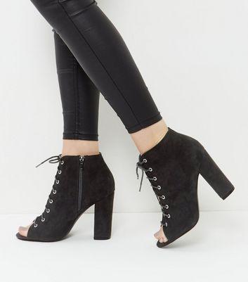 Black Suedette Ghillie Block Heels