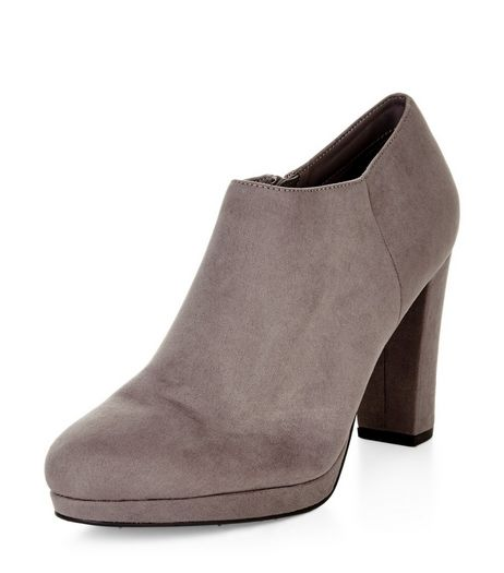 Grey Suedette Block Heel Shoe Boots  | New Look