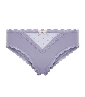 Light Purple Mesh Panel Brazilian Briefs