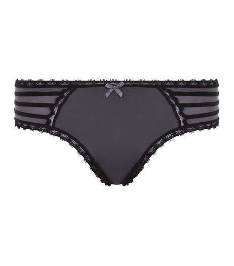 Grey Strappy Lace Trim Thong | New Look