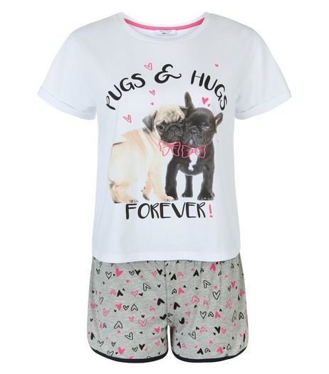Teens Grey Pug Heart Print Pyjama Set | New Look