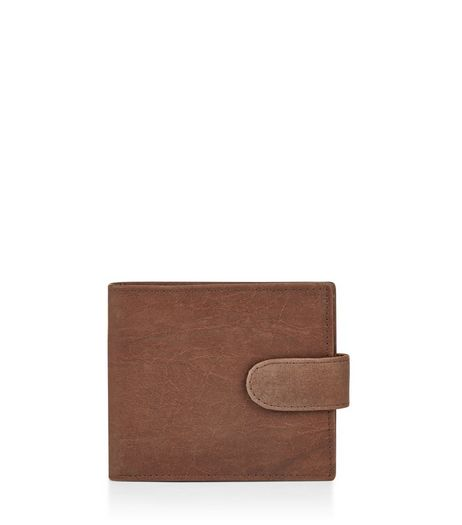 Brown Leather Snap Fastening Wallet | New Look