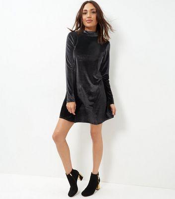 Brave Soul Black Velvet Funnel Neck Dress
