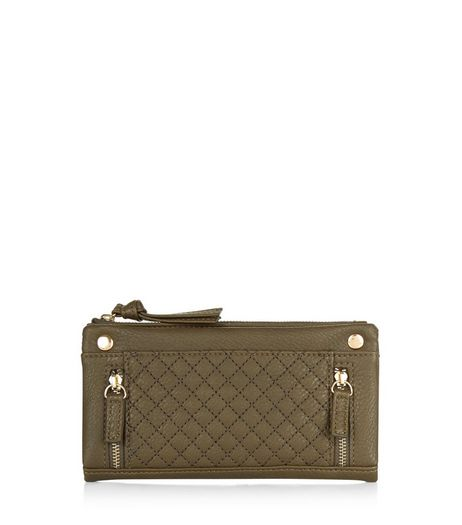 Khaki Zip Quilted Purse | New Look